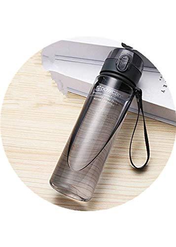 Botella de Agua 800ML 560ML 400ML Vasos de plástico para Deportes al Aire Libre Escuela Sello a Prueba de Fugas Botellas de Agua Potable Directa portátiles - 800ml, Negro Transparente