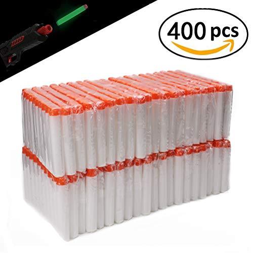 Airlab 400er Pfeile Zubehör für Nerf Leuchten im Dunkeln, Darts für N-Strike Elite Series, 7,2 cm Refill Darts Foam Pfeile, Weiß