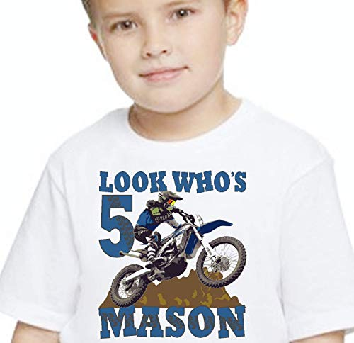 Birthday T Shirt Personalized with Name and Age Dirt Bike Motocross Tricks Tee Custom