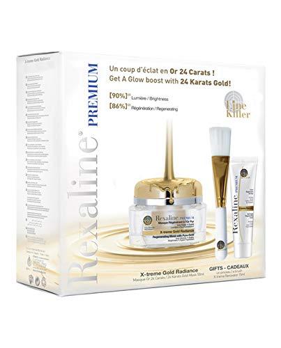 Rexaline X-treme Gold Radiance Geschenkset (Gesichtsmaske,50ml+Gesichtscreme,10ml,Pinsel), 200 g