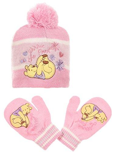 Bonnet et moufles bébé fille Winnie l'ourson Violet et Rose de 0 à 9mois (42 (0-3 mois), Rose)