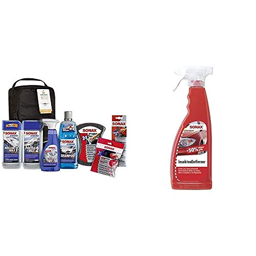 SONAX Xtreme Autopflege Set inkl. Tasche; Autoreinigungs- und Pflegeset für den Fahrzeug-Außenbereich & InsektenEntferner (750 ml) entfernung von Insektenresten auf Glas- und Kunststoffoberflächen