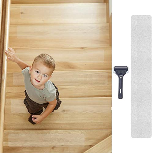 Tingpo Stair Treads Clear Non-Slip Tape (15Pack), Pre-Cut Anti-Slip Strips with Roller, Safety for Kids, Elderly and Pets, Indoor