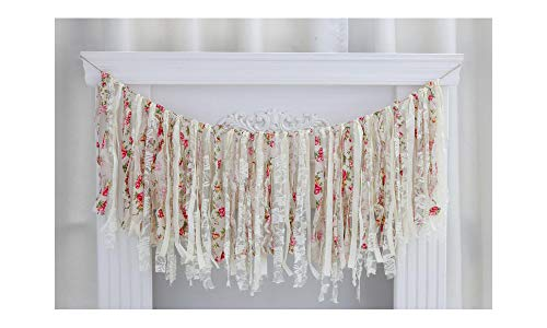 Lace Fabric Tassel Garland, Vintage Handmade Birthdays, Bridal Showers, Baby Showers, Photo Shoots, Room Decor Banner (White)