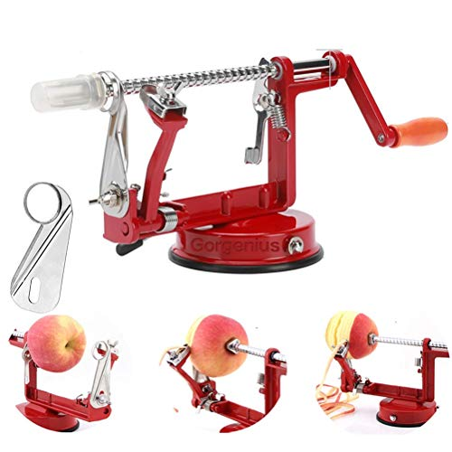 Gorgenius Apple Peelers, Apple Peeler Corer Slicer Suction Base Durable Heavy Duty Blade Peelers 1pc Extra Blade