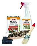 Clou Teakholz Pflegeset: 750 ml Teakl, 500 ml Holzreiniger, Brste, Pinsel & Schleifpad, Holzpflege fr Aussenbereich