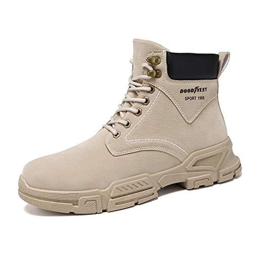 Aire Libre Zapatillas de Deporte Hombre Botines de Cordones Sintético Cuero Parte Superior Cómodos Antideslizantes Suela Marrón EU 42