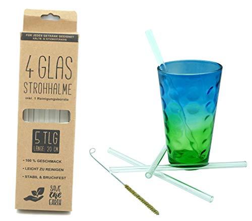 Hillfield® Glas Strohhalme Wiederverwendbar Trinkhalm - 4 Stück gerade 20 cm + Reinigungsbürste - Spülmaschinenfest - Nachhaltig - Glastrinkhalme Glasstrohhalme