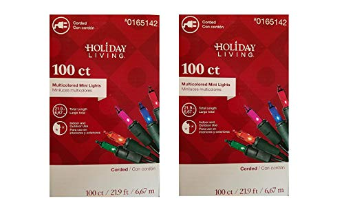 100 Mini Lights, UL Certified, Use for Indoor or Outdoor Decoration, Parties, Patio, Holidays (Pack of 2 Multi Color)