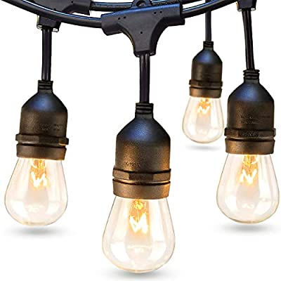 addlon 48 FT Outdoor String Lights Commercial Great Weatherproof Strand Edison Vintage Bulbs 15 Hanging Sockets, UL Listed Heavy-Duty Decorative Café Patio Lights for Bistro Garden