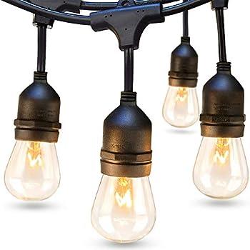 addlon 48 FT Outdoor String Lights Commercial Grade Weatherproof Strand Edison Vintage Bulbs 15 Hanging Sockets UL Listed Heavy-Duty Decorative Cafe Patio Lights for Bistro Garden