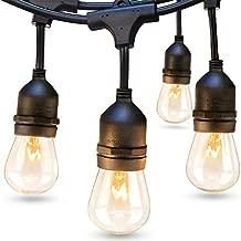addlon 48 FT Outdoor String Lights Commercial Grade Weatherproof Strand Edison Vintage Bulbs 15 Hanging Sockets, UL Listed Heavy-Duty Decorative Cafe Patio Lights for Bistro Garden