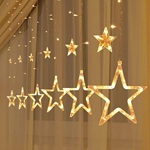 Joiedomi 2 Pack 138 LED 12 Stars Remote Window Curtain Fairy String Lights (Warm White), Waterproof for Christmas, Home, Party, Wedding, Garden, Xmas Garden Patio Bedroom Decor Indoor Outdoor Decor