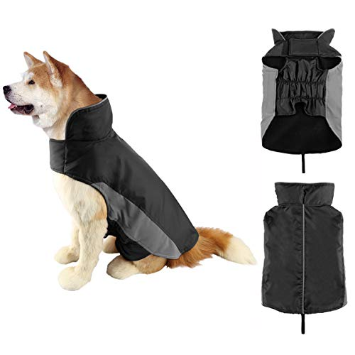 SelfLove Hundemantel Winter Warm Hundejacke Regen Wasserdicht Jacke Winterjacke für Hunde Reflektierende Nylon Fleece Gefüttert Einfaches An- u. Ausziehen (XXXL, Schwarz)
