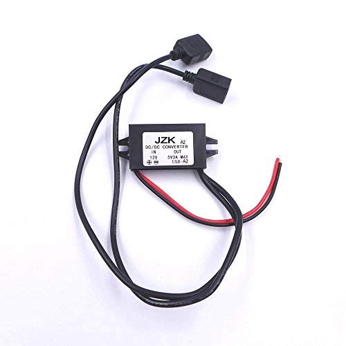 JZK Power Step-down Transformer Buck Converter Voltage Regulator DC 12V bis 5V 3A Spannungswandler mit Dual USB für Auto Vehicle Motorrad Motor Ladegerät Audio Radio