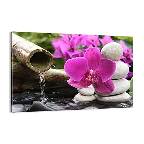ARTTOR Cuadro sobre Lienzo - Impresión de Imagen - Orquídea bambú decoración SPA - 120x80cm -...