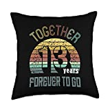 Best Marriage Anniversary Gifts - Family Apparel 13th Years Wedding Anniversary Gifts For Couples Matching Throw Pillow, 18x18, Multicolor