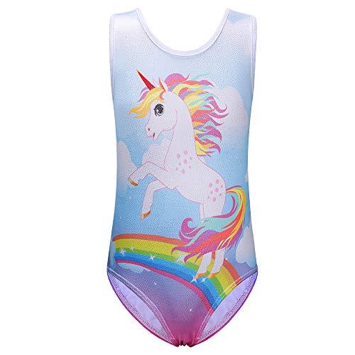 XFGIRLS Body da ginnastica per ragazze Body per danza classica atletica brillante Body senza maniche sfumati Cavallo arcobaleno