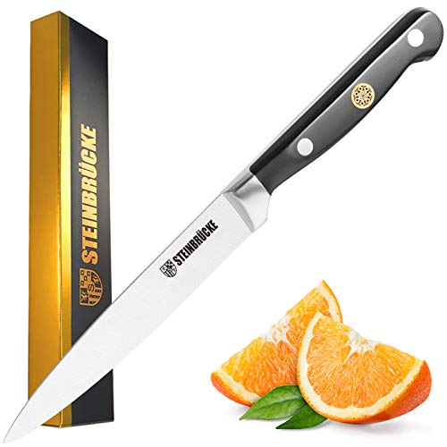 STEINBRÜCKE Utility Knife 5 inch - Kitchen Utility Knife Forged from German Stainless Steel 5Cr15Mov(HRC58), Full Tang, Razor Sharp Petty Knife with Ergonomic Handle for Home, Kitchen&Restaurant