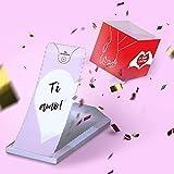 «BOOM!» Ti amo! - Biglietto di Auguri San Valentino Coriandoli che Esplodono, Biglietto Amore Originale per lei lui, una Cartolina a Forma di Cubo Pop up Dalla Busta