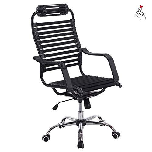 HIGHKAS Möbel Home Computer Stuhl Atmungsaktiver elastischer Sitz Bequemer Gesundheitsstuhl Rücken Drehstuhl Boss Office Sitz Arbeitsstuhl Stühle (Farbe: Schwarz, Größe: 62 * 62 * 112 cm)