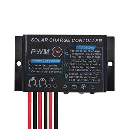 10A Solarladeregler Wasserdichter Solarregler IP68, 12 V, automatische 24-Stunden-Belastung zur Lade- und Entladesteuerung