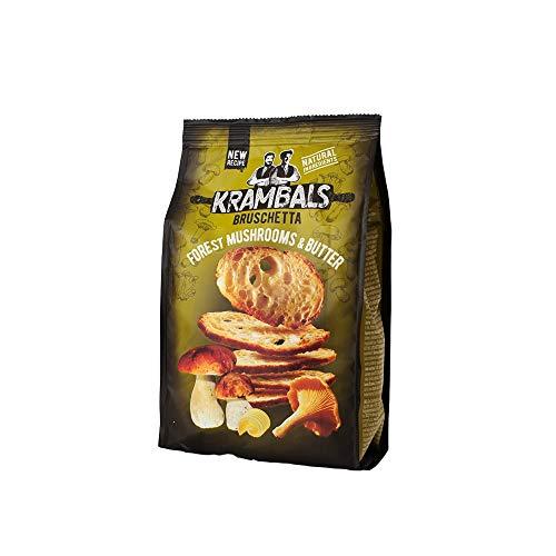 Krambals Bruschetta Crackers - Forest Mushrooms & Butter Healthy Crisps Snack Bread, 70 g (Pack of 12)