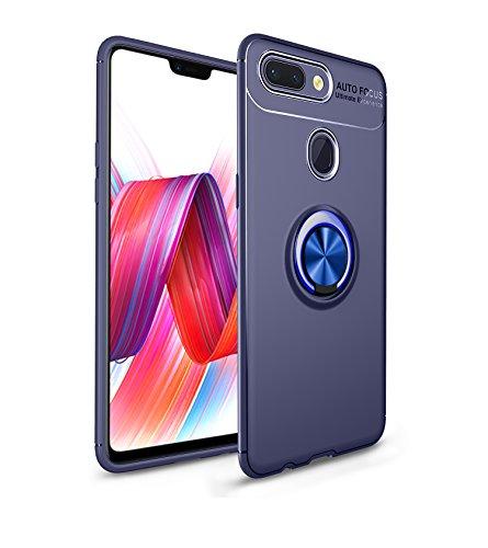 TiHen Funda Xiaomi Mi 8 Lite, 360 Grados Protective con Anillo Soporte+Pantalla de Vidrio Templado Case Cover Skin móviles telefonía Carcasas Fundas para Xiaomi Mi 8 Lite -Azul