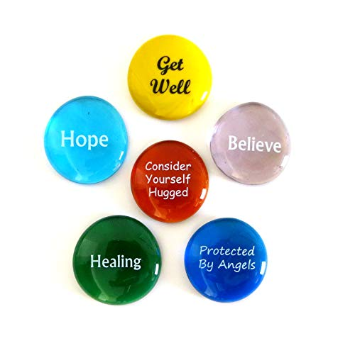 Lifeforce Glass Get Well Glass Stones, 6 Messages to Bring Comfort and Hope for a Fast Recovery