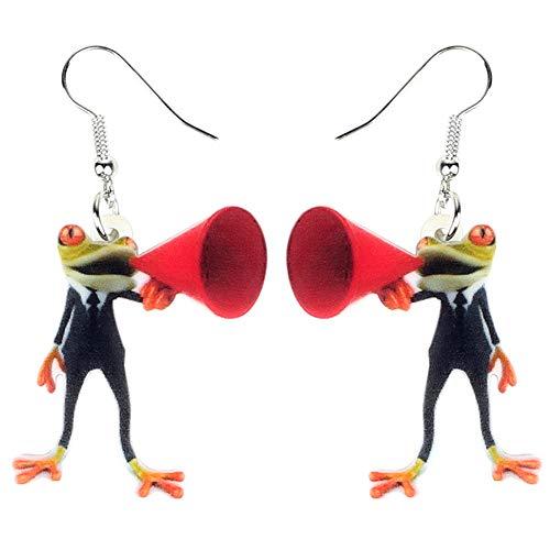 DFHTR Acryl Lautsprecher Gentleman Frosch Ohrringe Drop Dangle Trendy Mode Tierschmuck Für Frauen Mädchen Charms Geschenk Anhänger Ohrringe