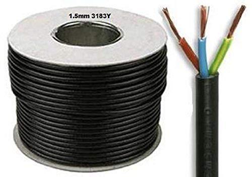 SEL 3183Y - Rollo de cable eléctrico (50 m, 1,5 mm, 15 A, 3 cables interiores), color negro