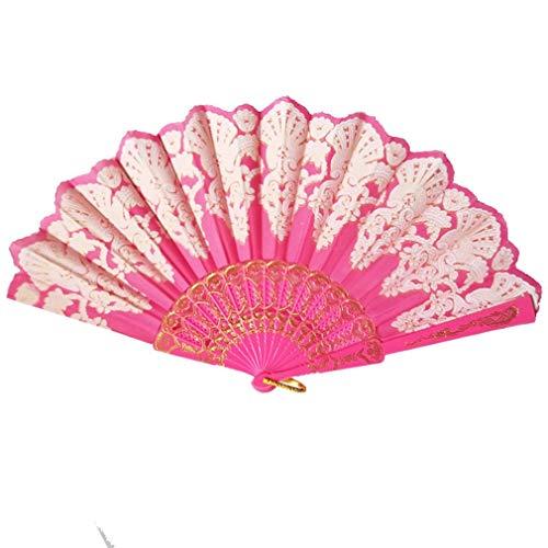 WEQQ Ventilador de Mano PE Ventilador Plegable Ventiladores Decorativos de Color sólido de Doble Cara de Verano (Rosa Rojo)