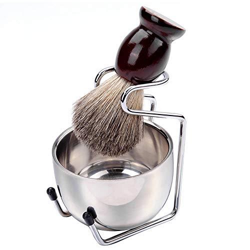 TAMUME 3pc Bartschaumbürsten-Set, Rasierpinsel und Rasierseifenschale, Geschenkset Rasieren mit Edelstahlhalter (Dunkelbraun)