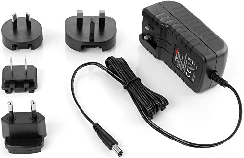 Poppstar Alimentador Universal 12 V / 3 A (3000mA) Conector: 5,5 mm x 2,5 mm, enchufes Intercambiables ES/UE, UK, EE.UU, AU, Cable eléctrico 150 cm, Negro