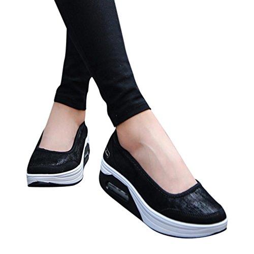 Scarpe Estive Donna,Scarpe Eleganti,Scarpe Sneaker,Scarpe Sportive,YanhooModa Donna Cuscino D'Aria Piattaforma Scarpe Shake Scarpe Slip Sport Sneakers (35=Asia 36, Nero)