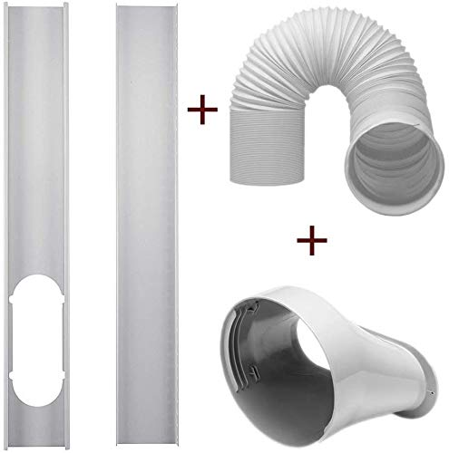 "Portable Window Vent Kit Air Conditioner Accessories, 2Pcs Window Slide Kit Plate +5.9'' Window Adapter Tube Connector +5.90"" Exhaust Hose (air Outlet of 15cm/5.91"" in Diameter.)"
