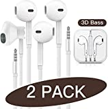 QIANXIANG 3.5mm in-Ear Wired Noise Cancellation Earbuds/Earphones/Headphones with Remote & Micphone Compatible with iPhone 6s plus/6/5s/5c/Pad/S10 Android All 3.5 mm Audio Devices (2 Pack)