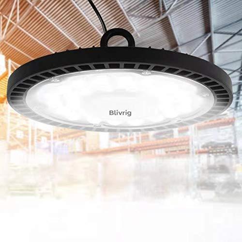 100W UFO LED Lámpara Alta Bahía,Blivrig Blanco frío 6000K,Super Brillante Iluminación Comercial para Almacén, Garaje, Fábrica, Taller, Gimnasio, Sótano (1pack, 100W)
