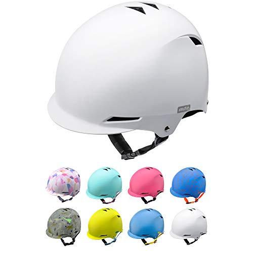 meteor Casco Bici Ideale per Bambini Caschi Perfetto per Downhill Enduro Ciclismo MTB Scooter Helmet Ideale per Tutte Le Forme di attività in Bicicletta Helmo KS02 (M 52-56 cm, White)
