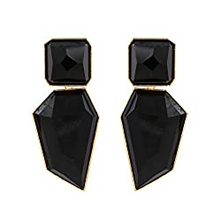 Black Acrylic Geometric Rhinestone Statement Drop Earring