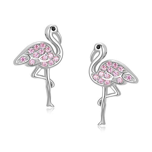 Pendientes de flamenco de plata de ley 925 con diseño de animal rosa y lindo regalo de flamenco para niñas (oro blanco)