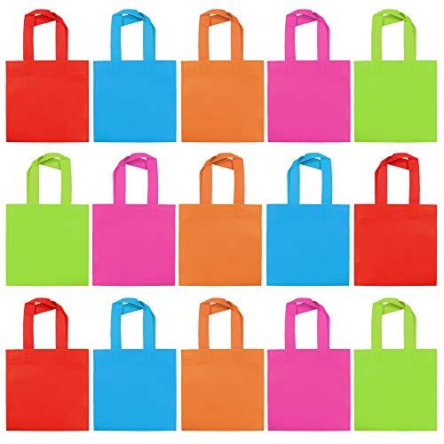 30 Bolsas de Fiesta No Tejidas con Asas, Bolsa de Regalo 20cm| 6 Colores, Ecológicos y Reutilizables| Cumpleaños Niños, Bodas, Navidad, Halloween, Chuches, Souvenirs, Juguetes Pequeños, Regalos.