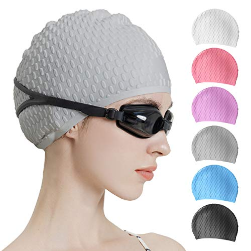 Tripsky Silicone Swim Cap,Comfortable Bathing Cap Ideal for Curly Short Medium Long Hair, Swimming Cap for Women and Men, Shower Caps Keep Hairstyle Unchanged (Gray)