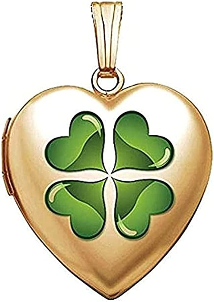 PicturesOnGold.com 14K Yellow Gold Sweetheart 4 Leaf Clover W/Green Enamel Locket 3/4 Inch X 3/4 Inch in Solid 14K Yellow Gold with Engraving