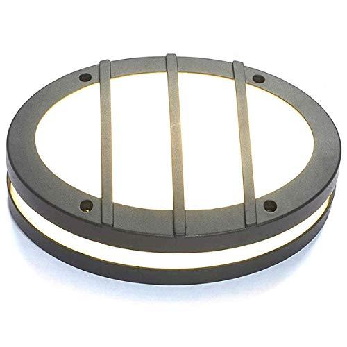 24W LED Aussenleuchte mit Bewegungsmelder, Rund Außen-Deckenleuchte, Außen-Wandleuchte, Wasserdicht Wandlampe, Spritzwassergeschützt, Dämmerungssensor, Lackiertes Aluminium, Schwarz