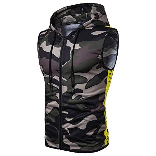 SALEBLOUSE Padded Gilet Water Resistant Rain Coat Microfibre Vest Body Gilet Body Warmer Hooded Sleeveless Coat Reversible Jacket Sleeveless Camouflage