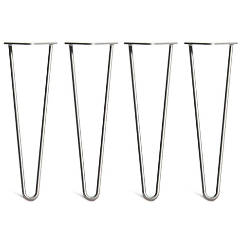 [HLC] 4 x Hairpin Table Legs – Superior Double Weld Steel Construction with Free Screws, Build Guide & Protector Feet, Worth £8! – 10mm Steel, All Sizes & 13 Colours [16'/40cm,Raw]