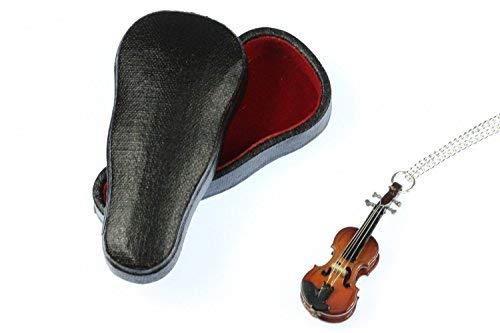 Miniblings Geigen Violine Holz Halskette - Handmade Modeschmuck I Kette mit Anhänger Länge: 60cm - Miniatur +Box Musik
