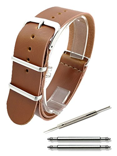 Calme(カルム)NATO ベルト 腕時計 PUレザー NATOタイプ ストラップ 18㎜ 20㎜ 22㎜ 24㎜ 3色 (18㎜, ブラウン)