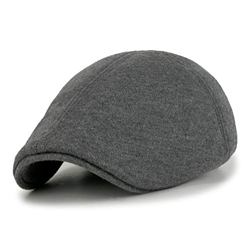 ililily Soft Cotton Newsboy Flat Cap Pre-Curved ivy Stretch-fit Driver Hunting Hut (flatcap-506-5)
